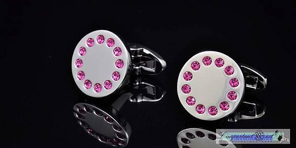圓形粉色水鑽袖扣