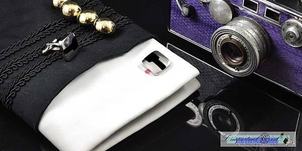 簡約風格黑色琺瑯袖扣