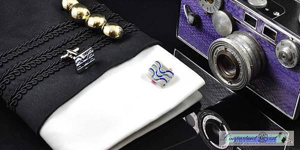 水波紋線條造型袖扣