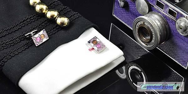 琺瑯紋彩方形袖扣