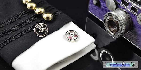 銀色方向盤造型袖扣