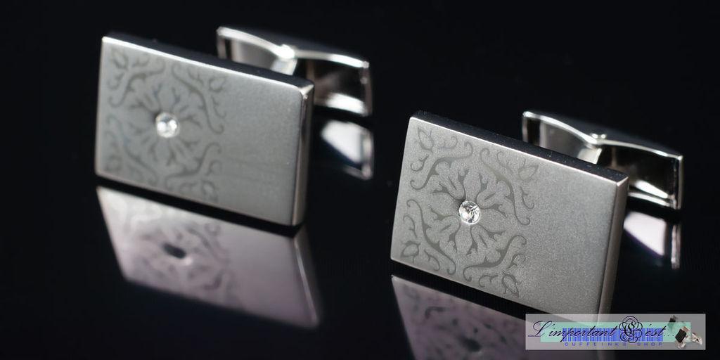 鸚鵡螺雷射雕紋鑲鑽袖扣