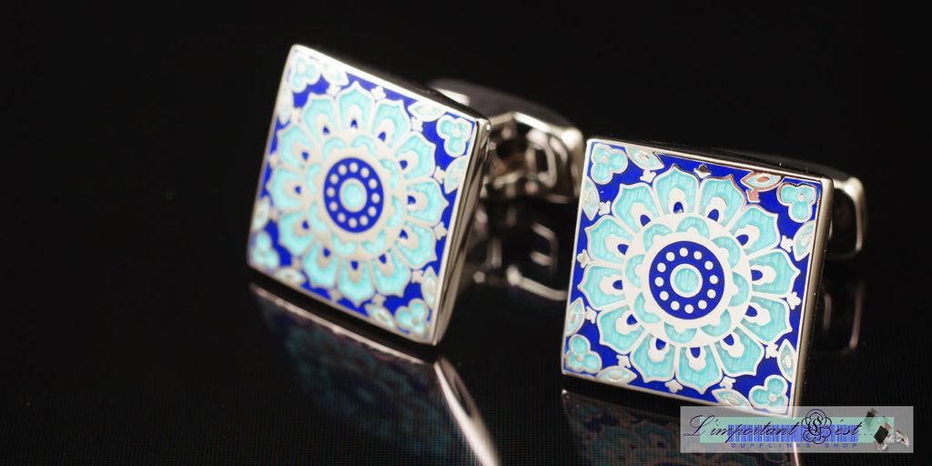 璀璨新氣藍色琺瑯袖扣