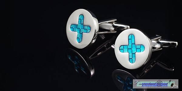 藍十字琺瑯鏡面袖扣