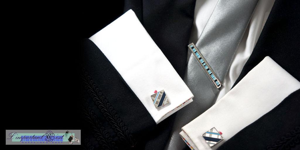水色湖光袖扣領帶夾套組