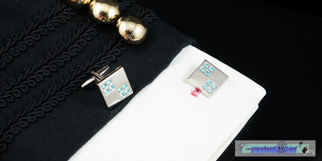 鏡面藍鑽方型袖扣