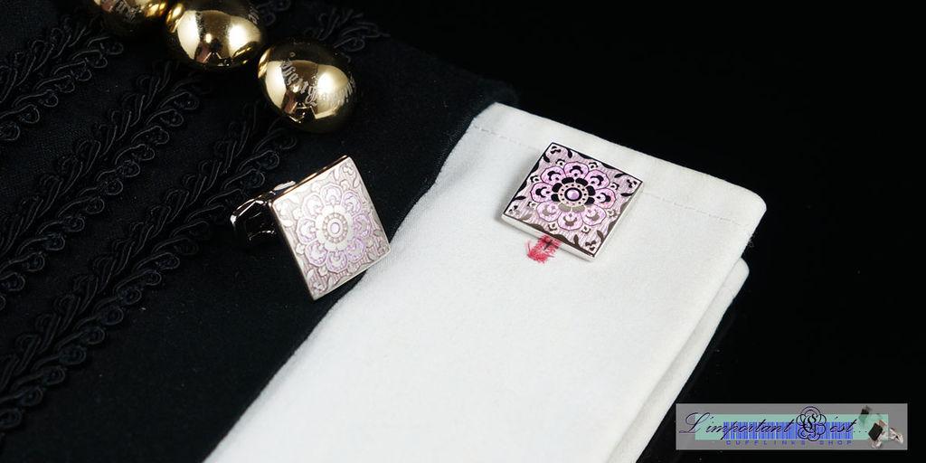 百花亮麗粉緻琺瑯袖扣