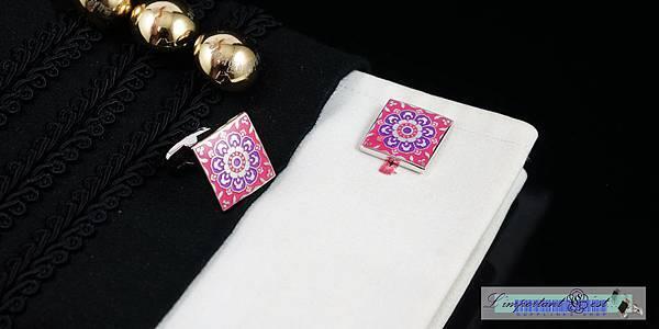 百花亮麗桃氣琺瑯袖扣
