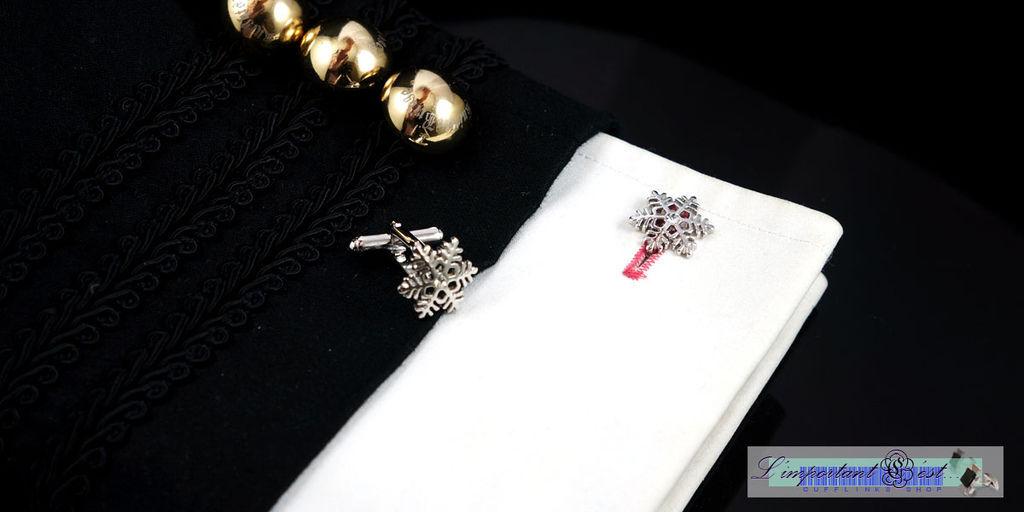雪花造型鑲鑽袖扣