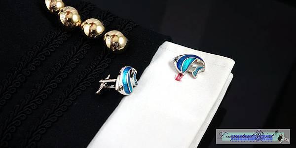 藍色琺瑯熱帶魚造型袖扣