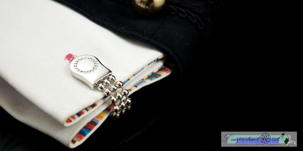 銀鏈鏡面鑲鑽造型袖扣
