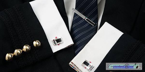 Ugo Conti 流線造型瑪瑙袖扣領帶夾套組