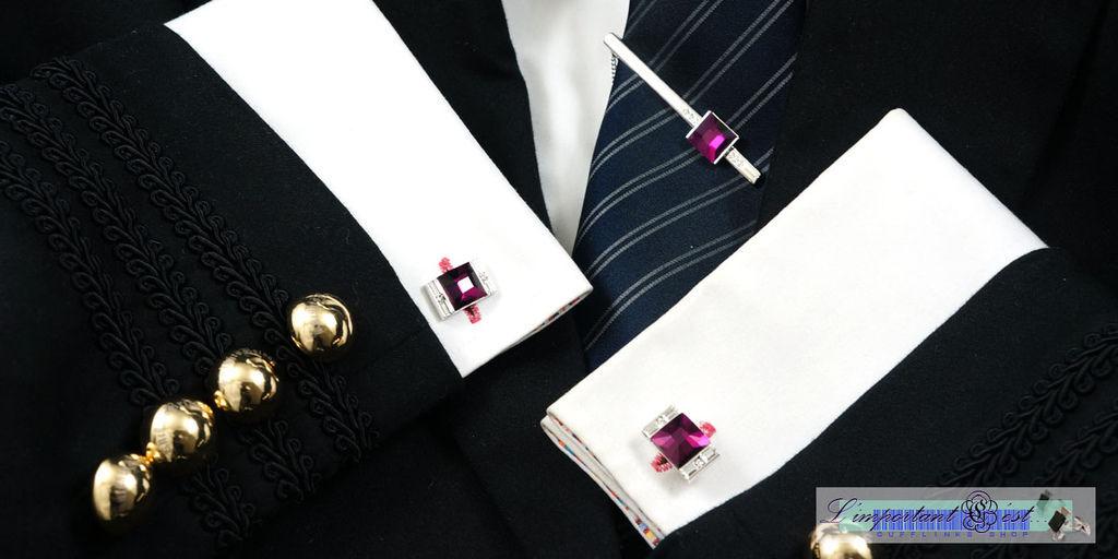 Ugo Conti 紫水晶袖扣領帶夾套組