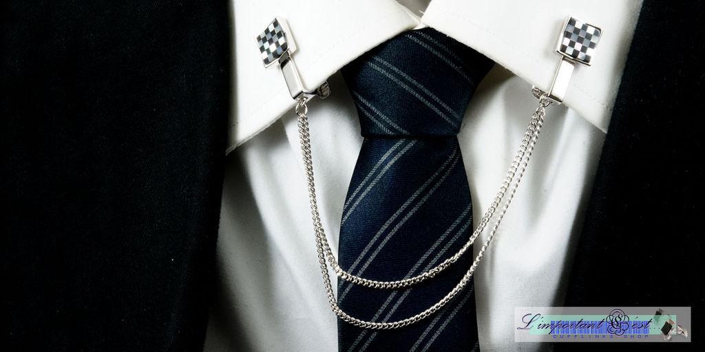 棋盤式珍珠貝領飾夾