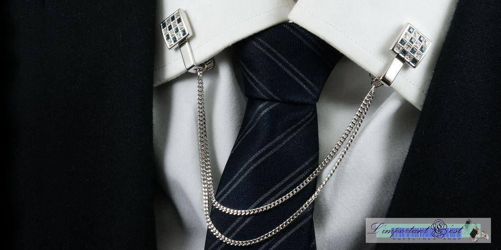 藍白格水鑽領飾夾