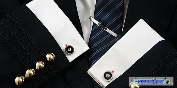 絢麗水晶銀黑琺瑯袖扣