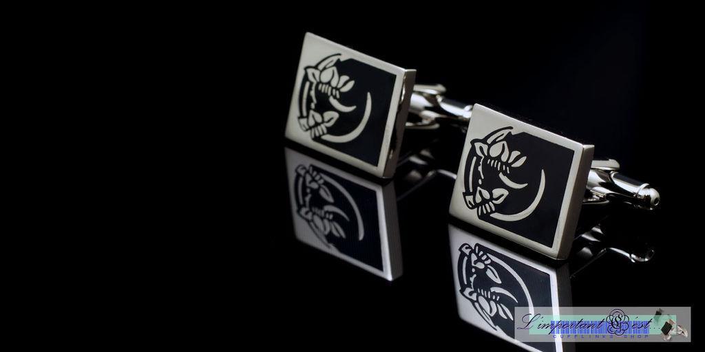 雅緻花紋黑色琺瑯袖扣
