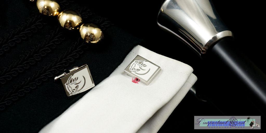雅緻花紋白色琺瑯袖扣