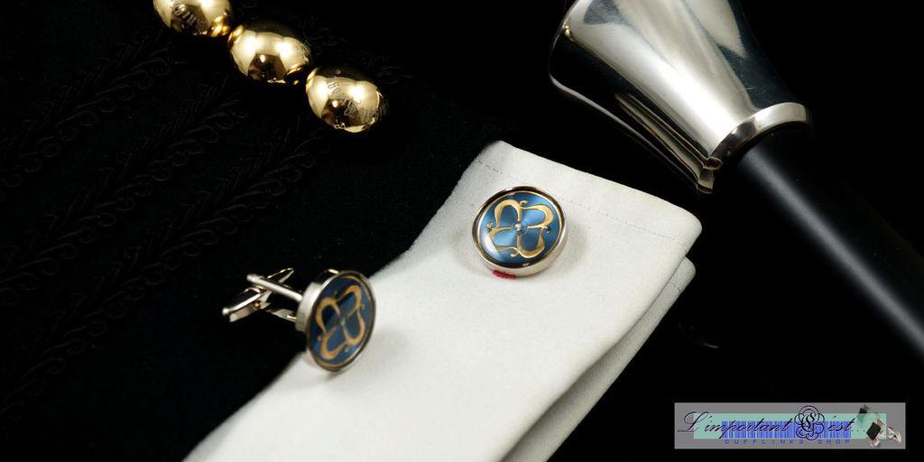 舞龍金紋藍底袖扣