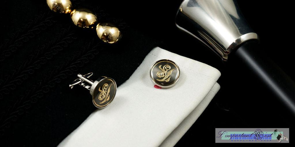 綵束金紋黑底袖扣