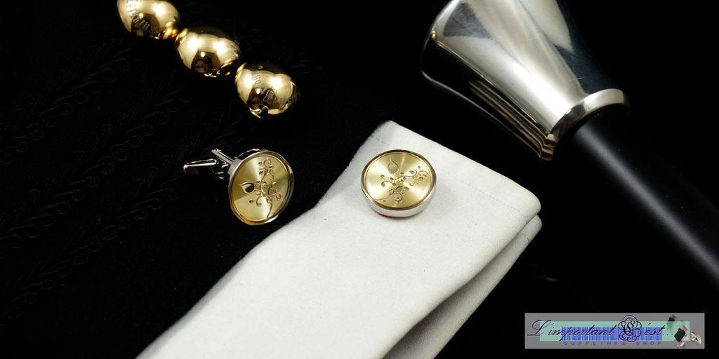 蔓莚金紋金底袖扣
