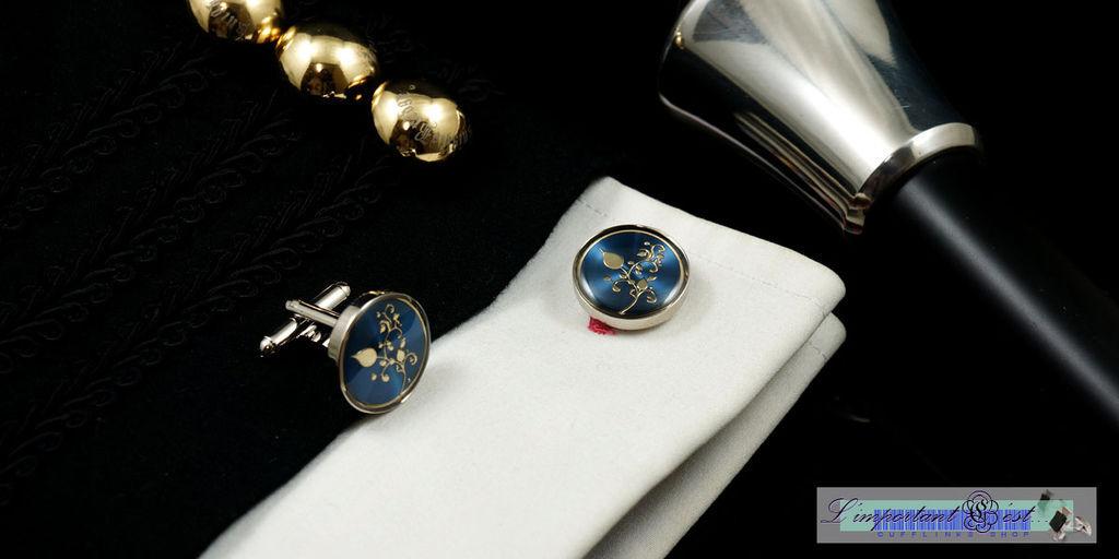 蔓莚金紋藍底袖扣