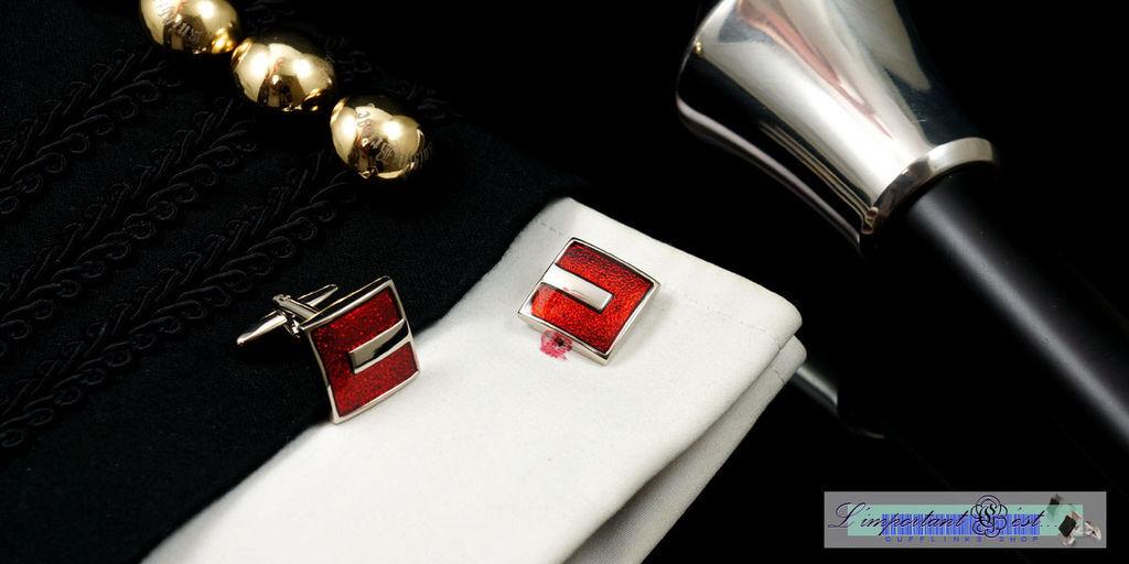 紅色烤漆袖扣