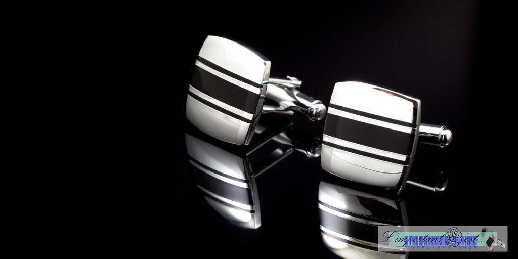 時尚簡約銀黑相間條紋袖扣