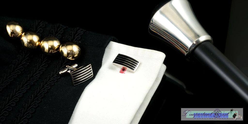 時尚耀黑條紋袖扣
