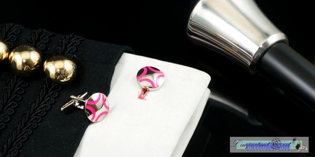 炫粉弧線圓形袖扣