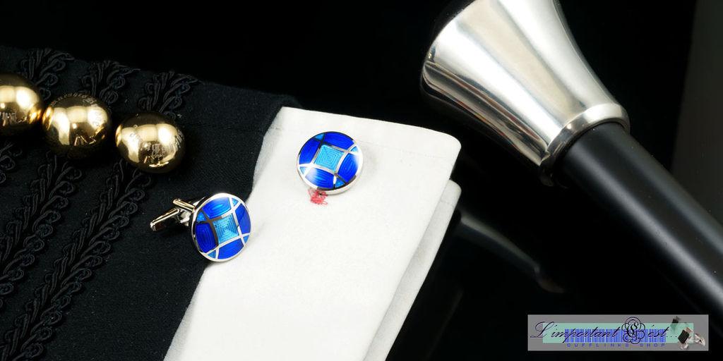 藍色幻想圓型袖扣