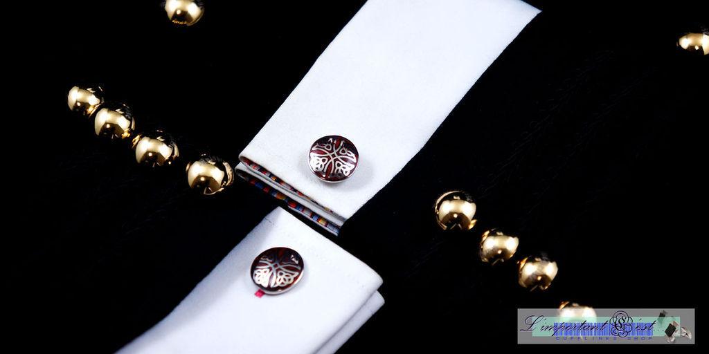 三一十字紅木袖扣