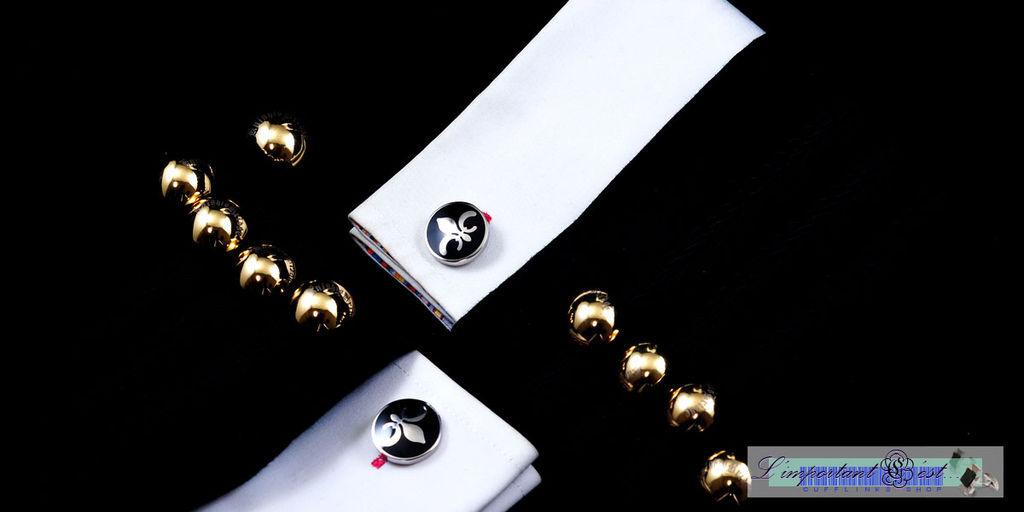 鳶尾花紋袖扣
