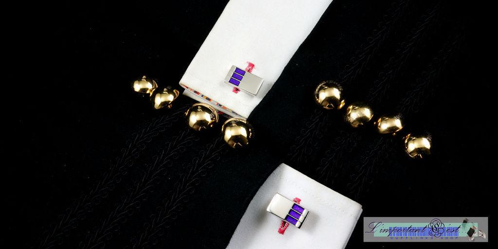 紫色琺瑯鏡面袖扣