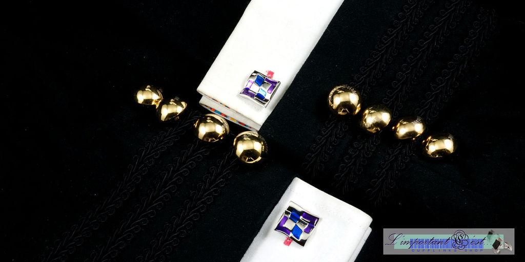 籃紫彩繪流線造型袖扣