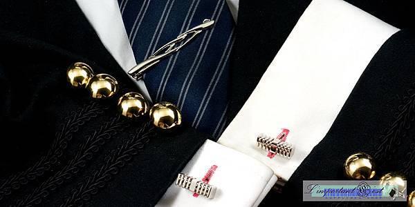 銀色流線領帶夾