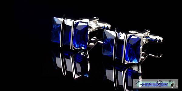 靈動藍鋯石銀框袖扣