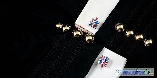藍粉水鑽袖扣