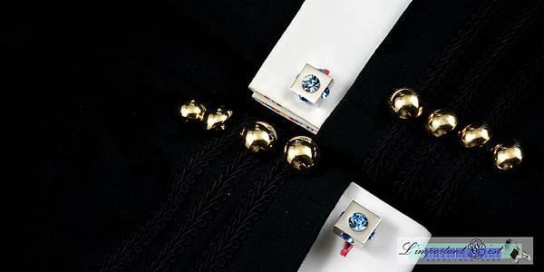 大型鏡面淡藍鋯石袖扣