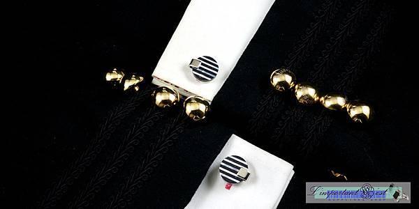 夏夜黑瑪瑙珍珠貝袖扣