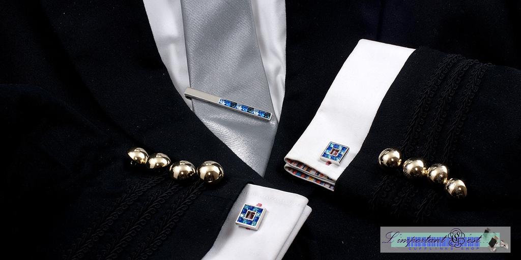 湖光施華洛世奇水鑽袖扣領帶夾套組