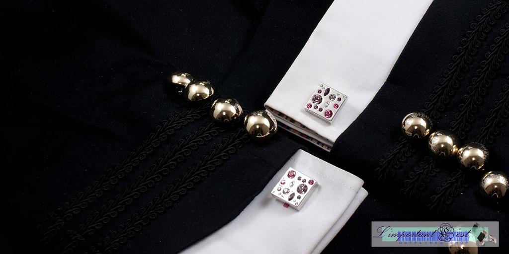 粉光彩鑽袖扣