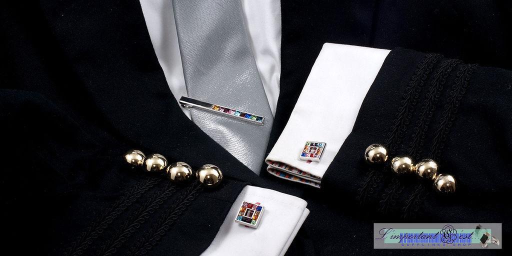 艷彩施華洛世奇水鑽袖扣領帶夾套組