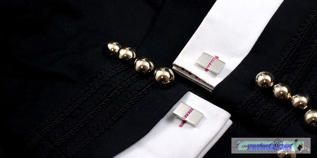銀面粉鑽中線袖扣