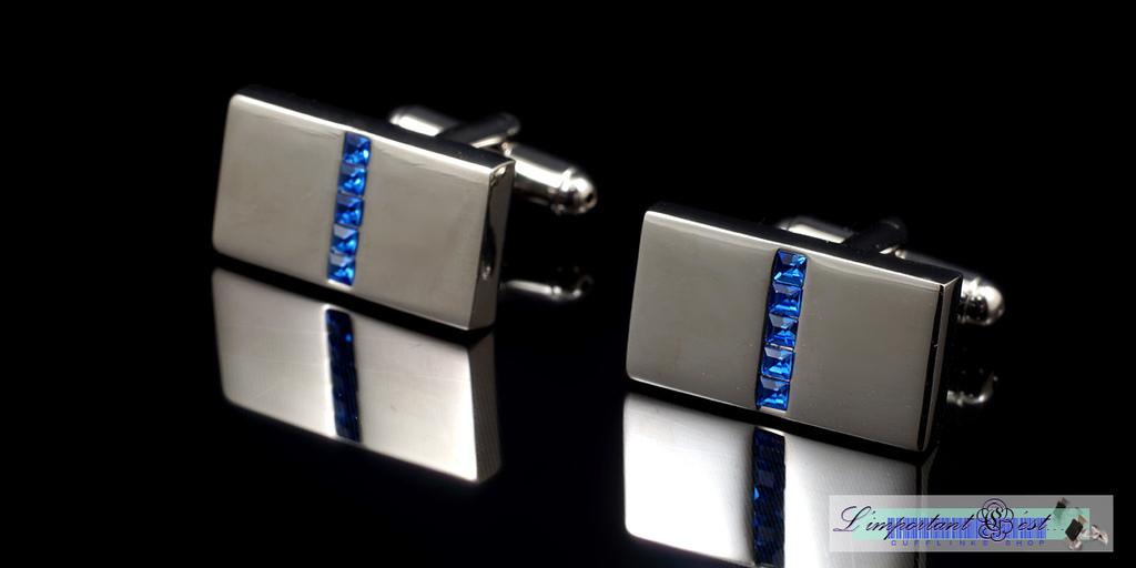 銀面藍鑽中線袖扣