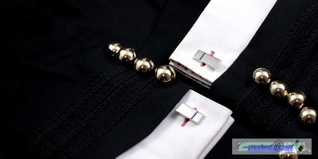 銀面藍邊水鑽袖扣
