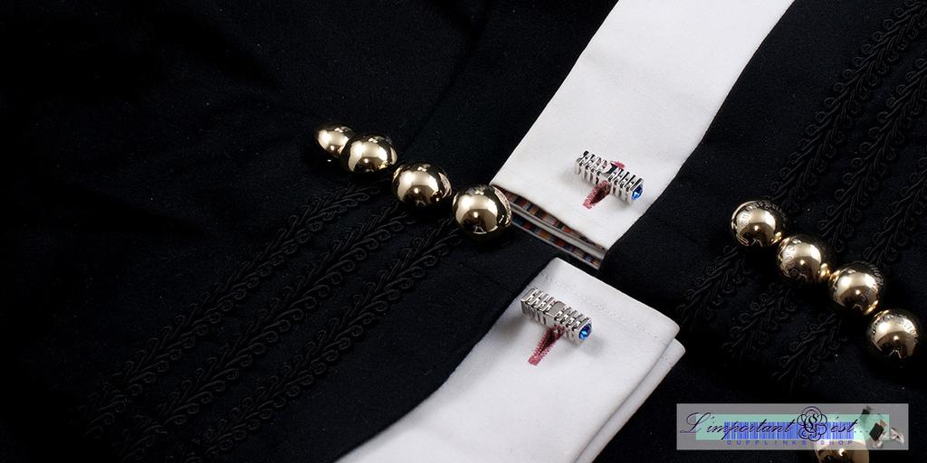時尚長方體藍鑽袖扣