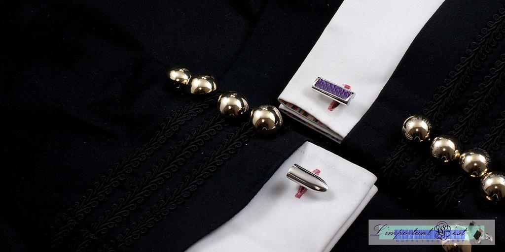 紫色格紋柱狀袖扣