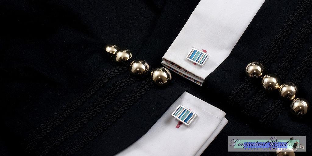 藍彩條紋袖扣