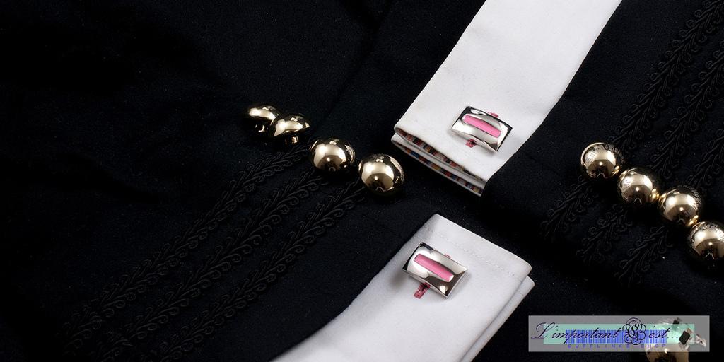 弧面粉色琺朗袖扣